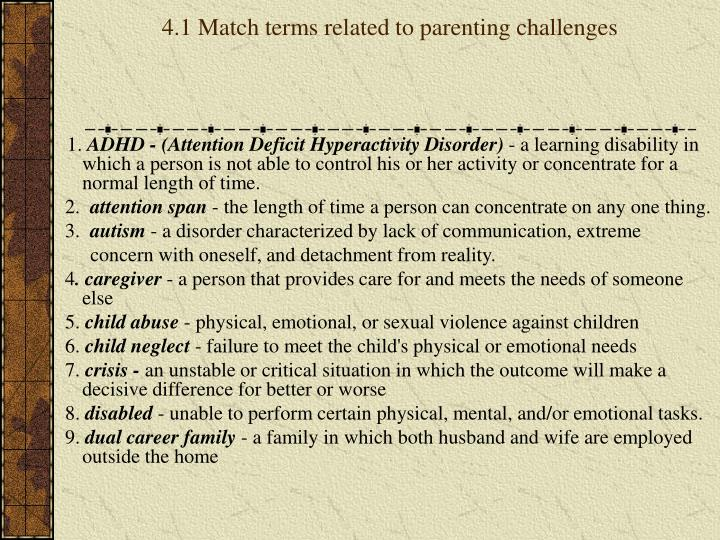 4.1 Match terms related to parenting challenges
