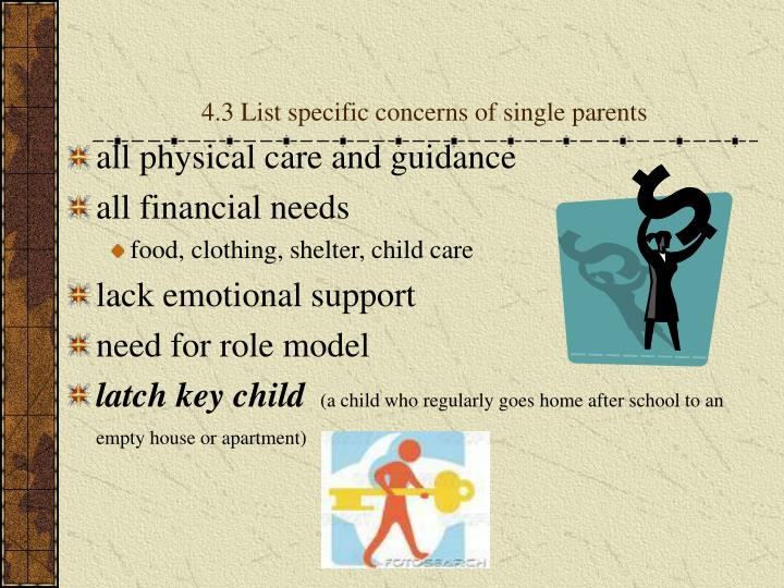 4.3 List specific concerns of single parents