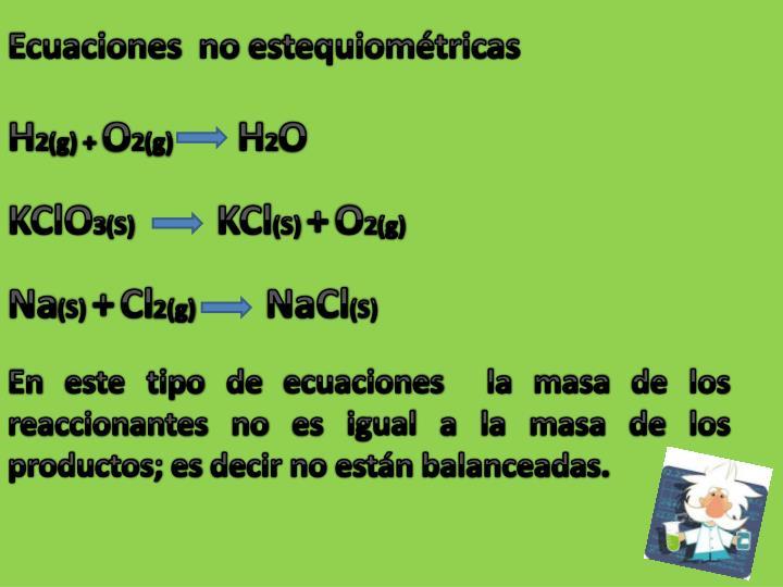 Ecuaciones  no estequiométricas