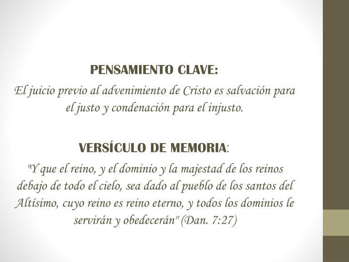 PENSAMIENTO CLAVE: