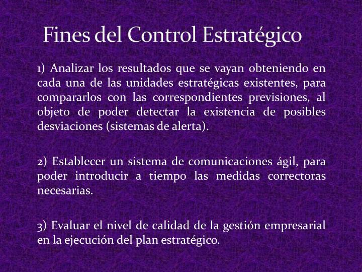 Fines del Control Estratégico