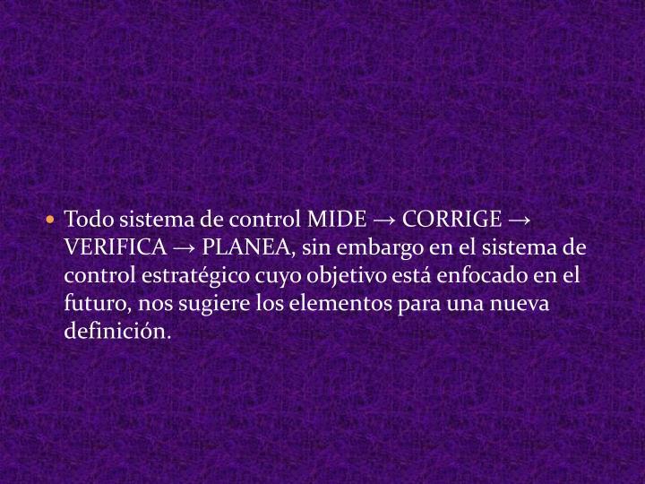 Todo sistema de control MIDE → CORRIGE → VERIFICA →