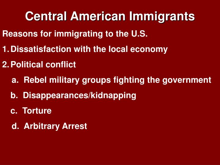 Central American Immigrants