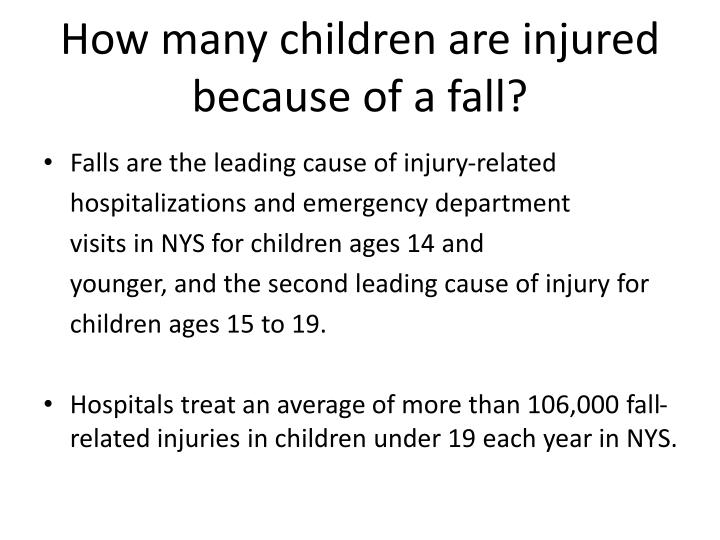 How many children are injured because of a fall