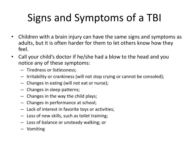 Signs and Symptoms of a TBI