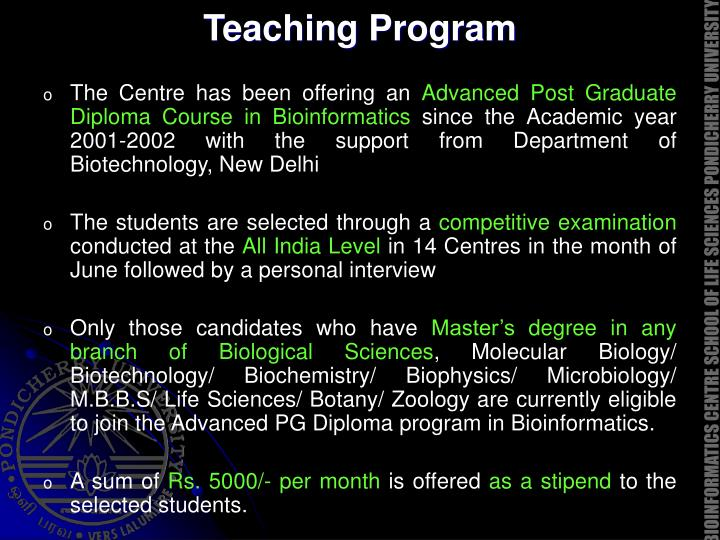 Teaching Program
