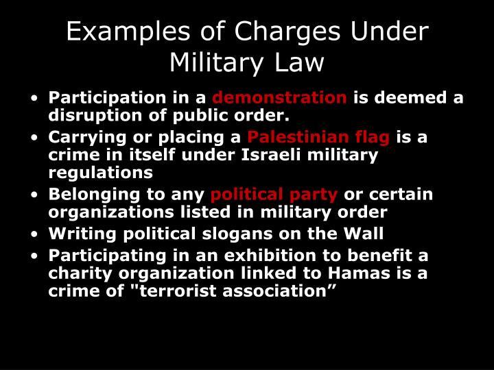 Examples of Charges Under Military Law