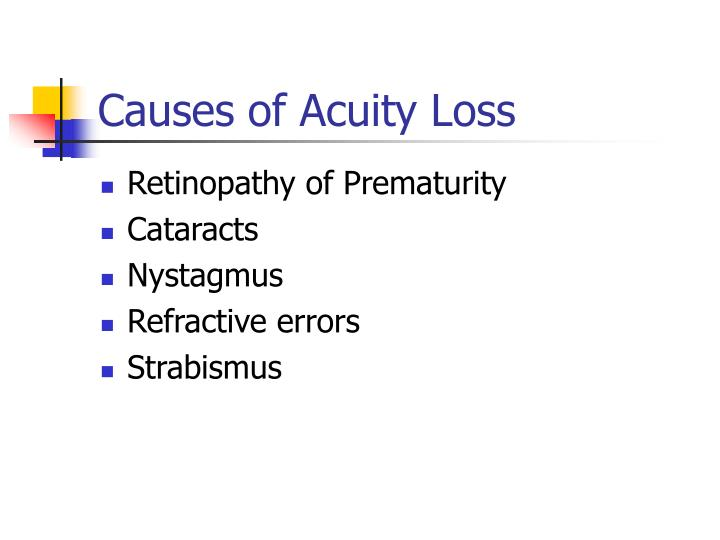 Causes of Acuity Loss