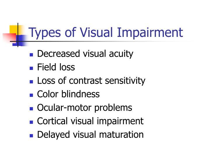 Types of Visual Impairment