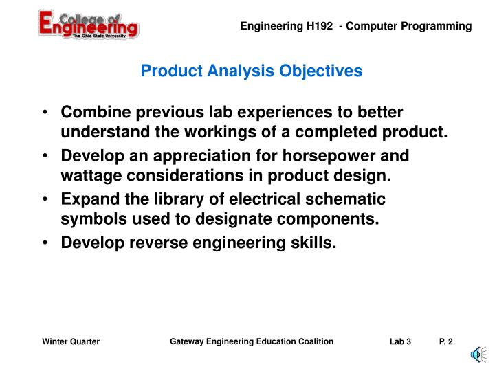 Product analysis objectives