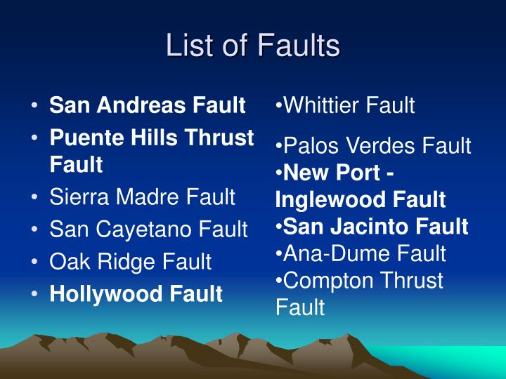 List of faults