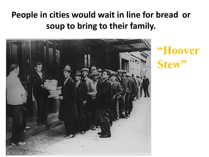People in cities would wait in line for bread
