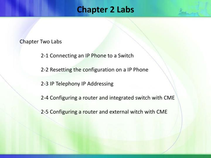 Chapter 2 Labs