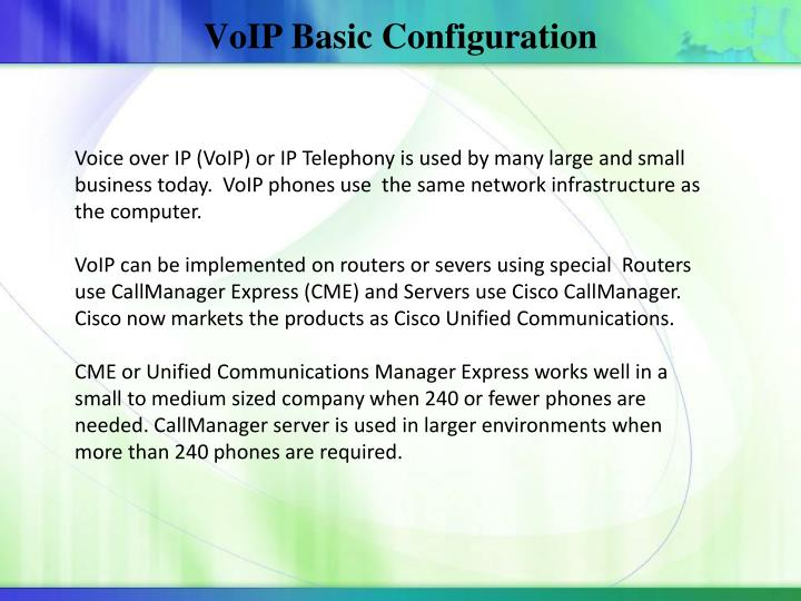 VoIP Basic Configuration