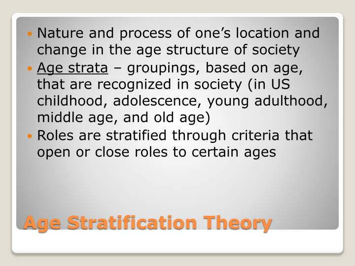 Nature and process of one's location and change in the age structure of society