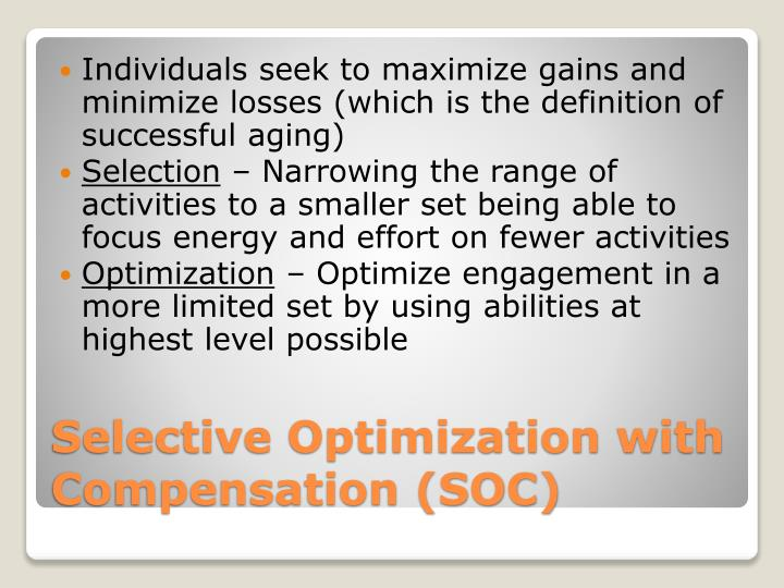 Individuals seek to maximize gains and minimize losses (which is the definition of successful aging)