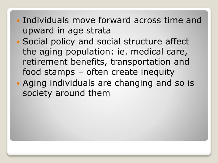 Individuals move forward across time and upward in age strata