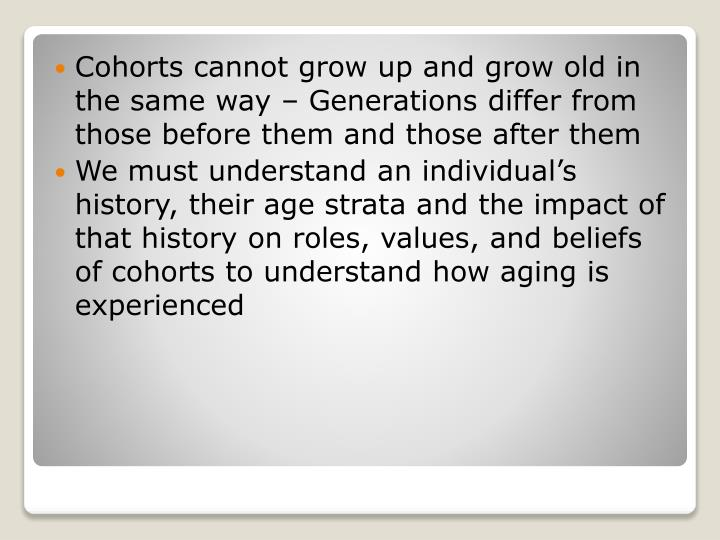 Cohorts cannot grow up and grow old in the same way – Generations differ from those before them and those after them