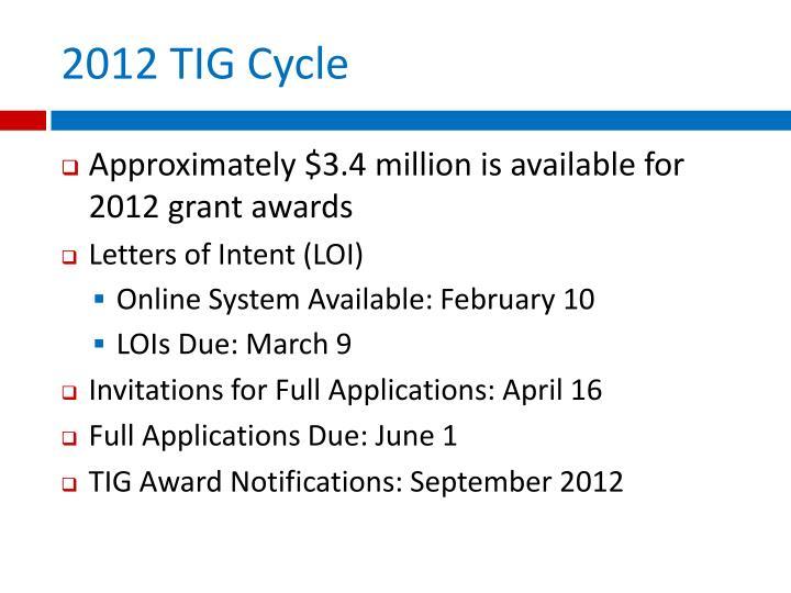 2012 TIG Cycle