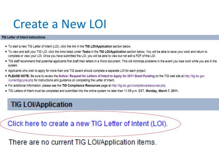 Create a New LOI