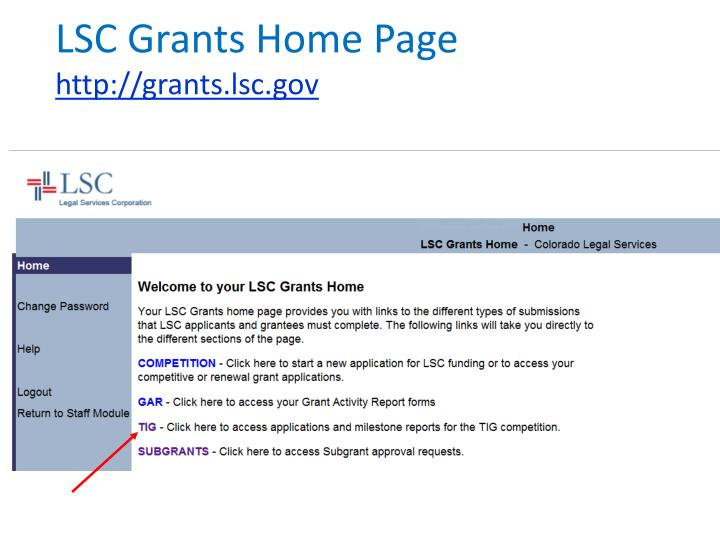 LSC Grants Home Page
