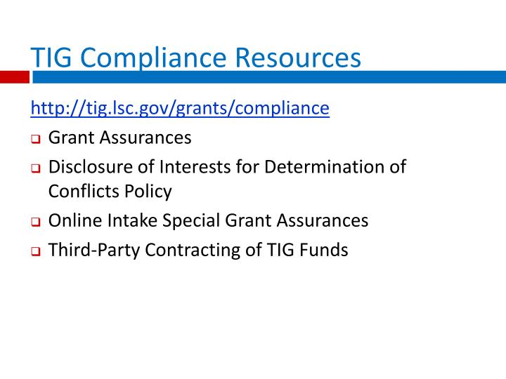 TIG Compliance Resources