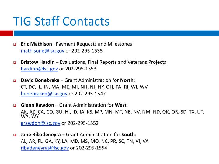 TIG Staff Contacts