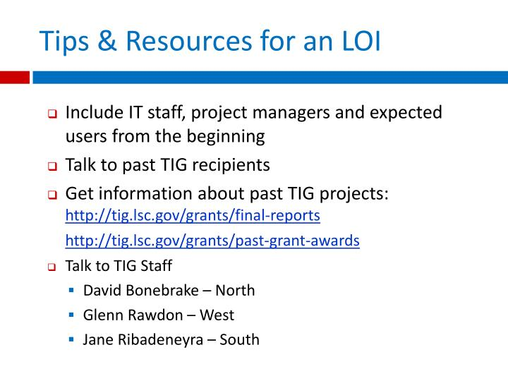 Tips & Resources for an LOI