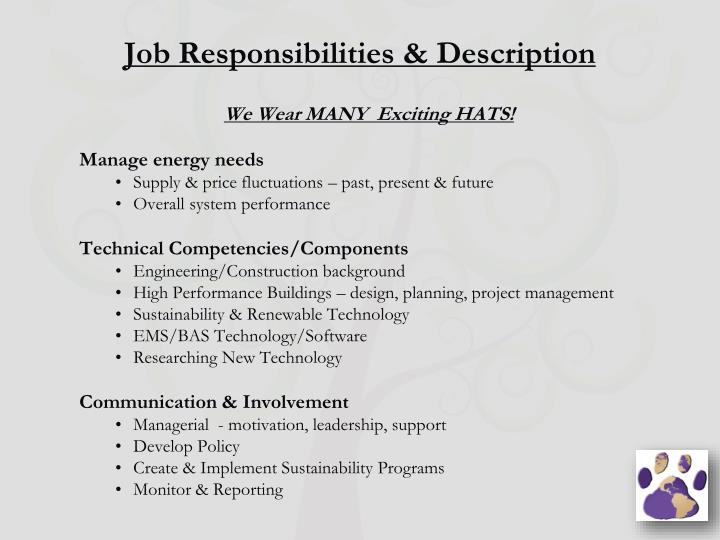 Job responsibilities description
