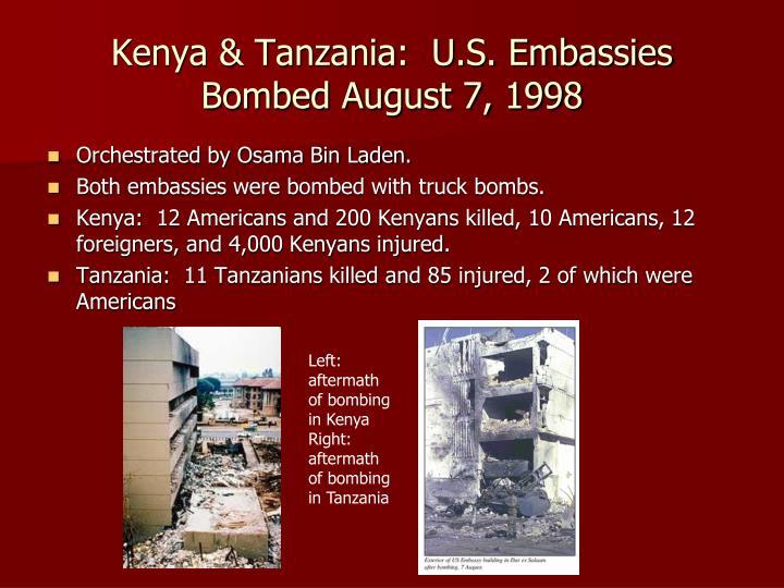 Kenya & Tanzania:  U.S. Embassies Bombed August 7, 1998