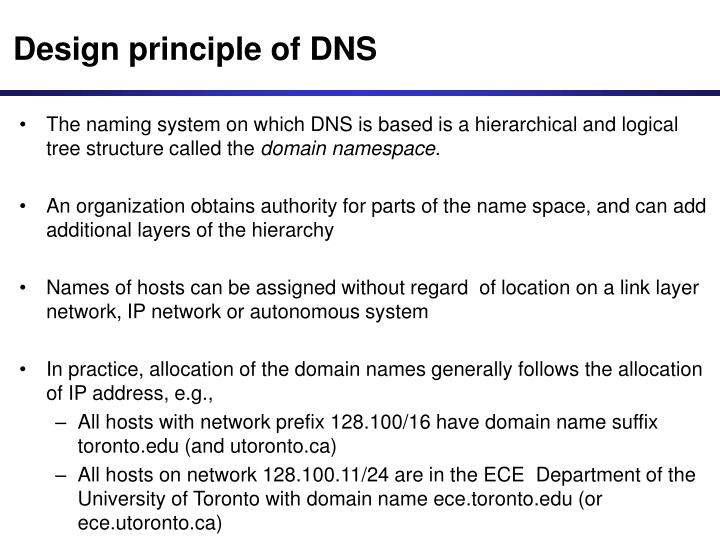 Design principle of DNS