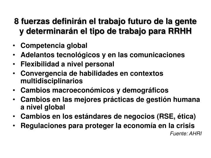 8 fuerzas definirán el trabajo futuro de la gente y determinarán el tipo de trabajo para RRHH