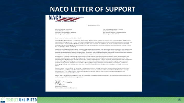 NACO LETTER OF SUPPORT