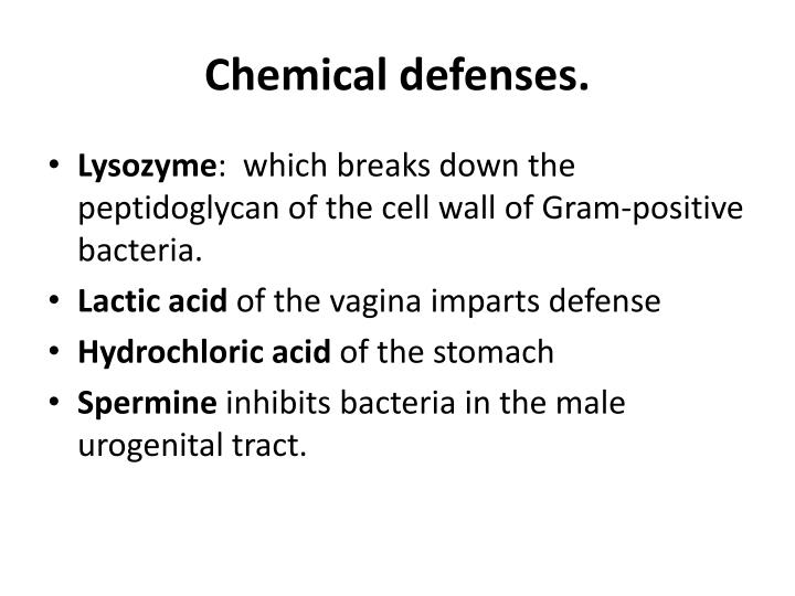 Chemical defenses.