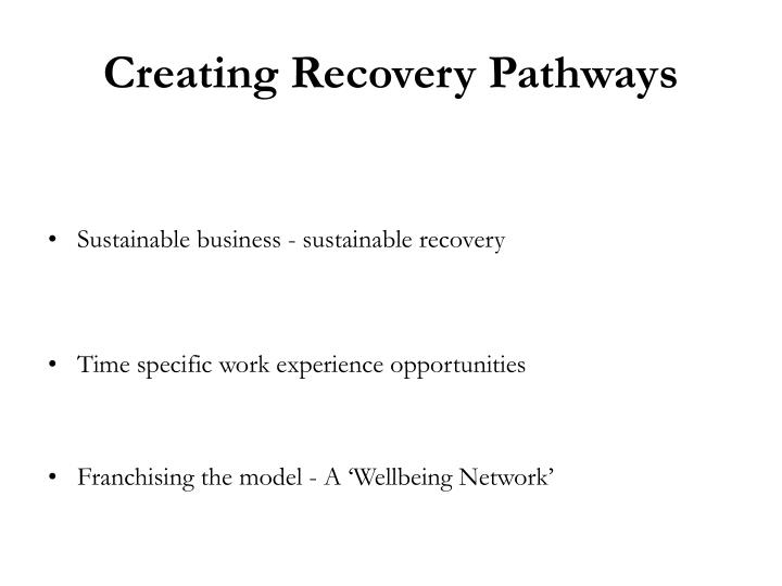 Creating Recovery Pathways
