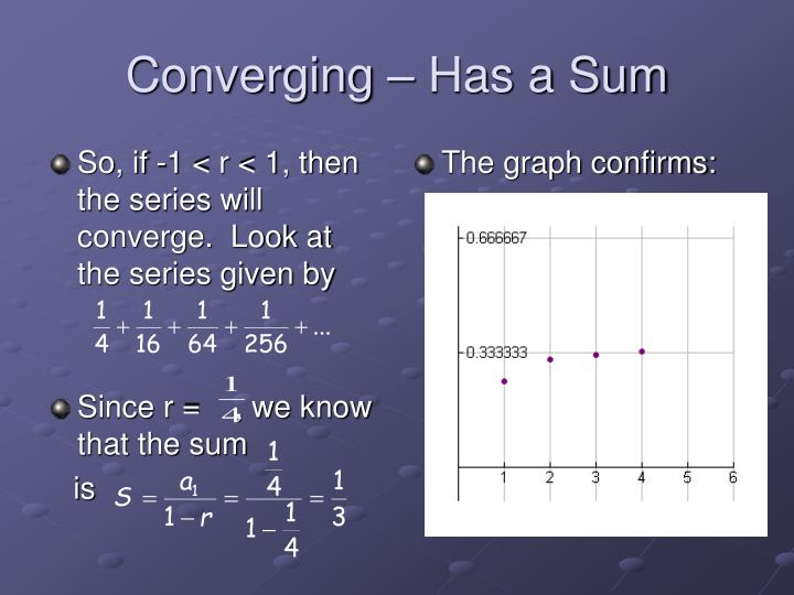 So, if -1 < r < 1, then the series will converge.  Look at the series given by