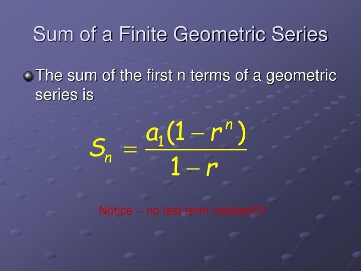Sum of a Finite Geometric Series