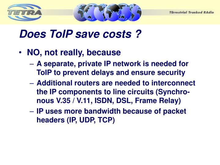 Does ToIP save costs ?