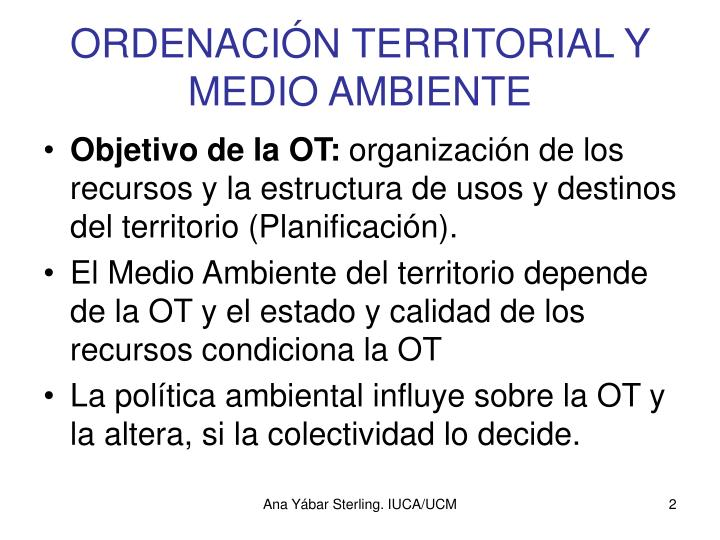 ORDENACIÓN TERRITORIAL Y MEDIO AMBIENTE