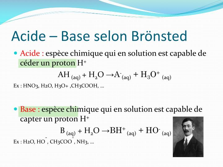 Acide – Base selon Brönsted