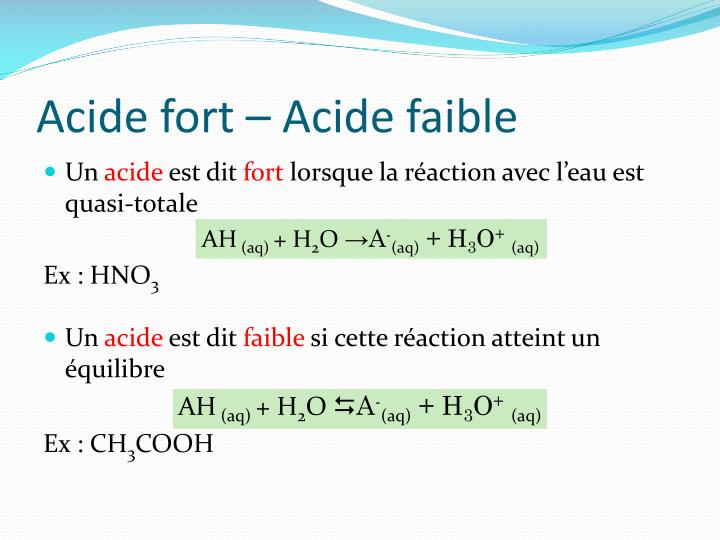 Acide fort – Acide faible