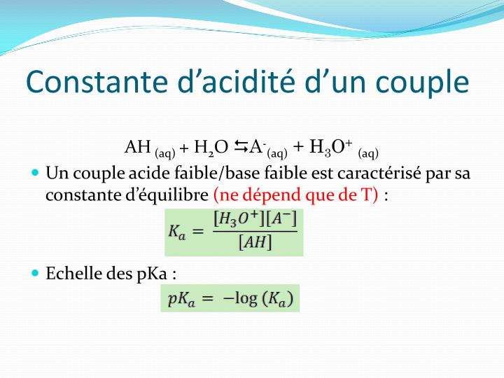 Constante d'acidité d'un couple