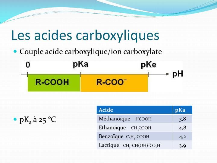 Les acides carboxyliques