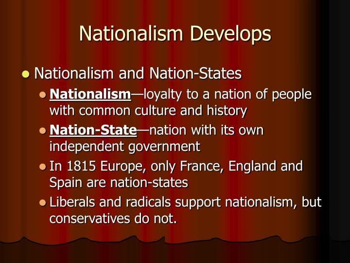 Nationalism develops