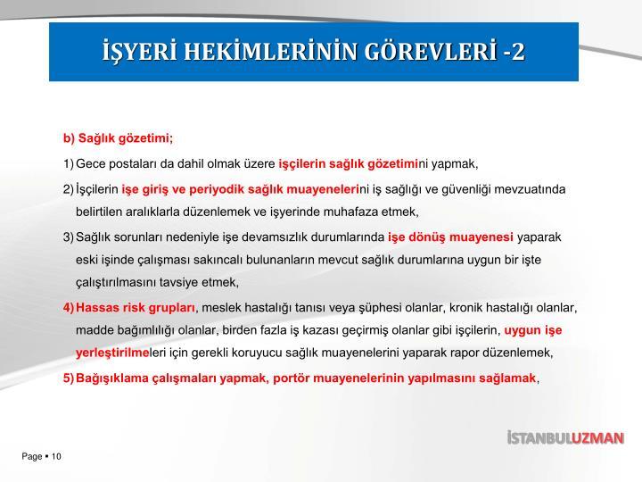 İŞYERİ HEKİMLERİNİN GÖREVLERİ -2