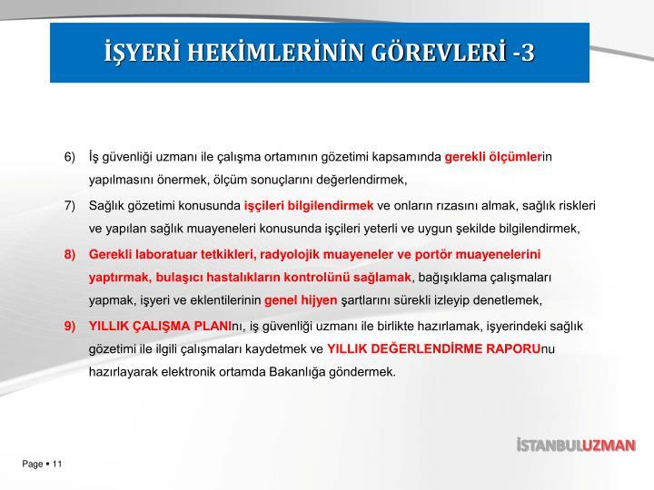 İŞYERİ HEKİMLERİNİN GÖREVLERİ -3