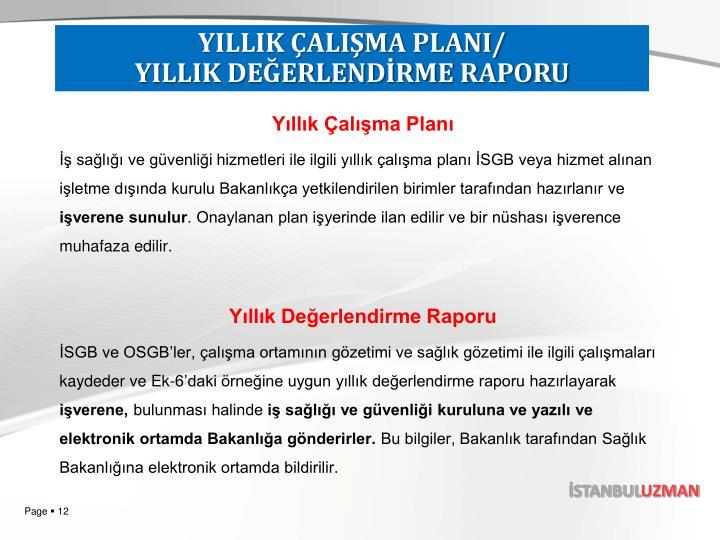 YILLIK ÇALIŞMA PLANI/