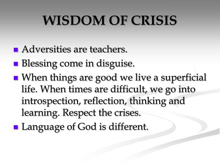 WISDOM OF CRISIS