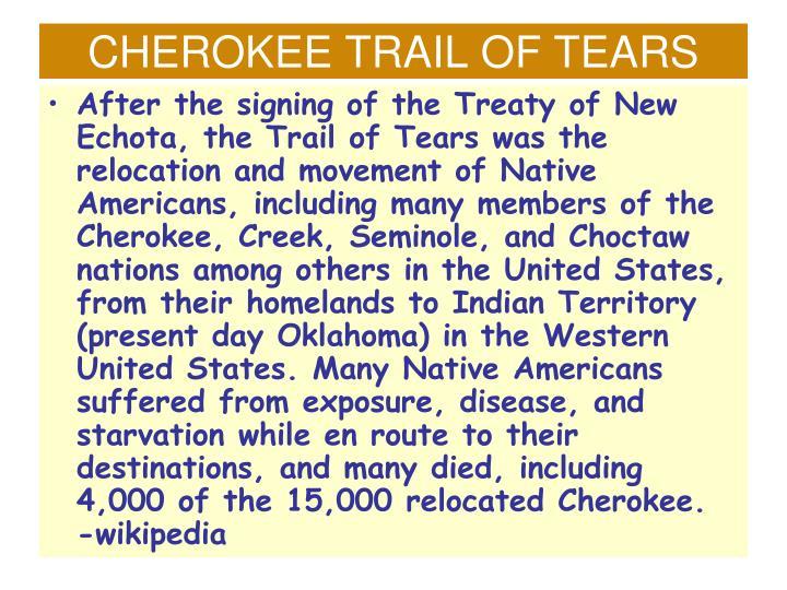 CHEROKEE TRAIL OF TEARS