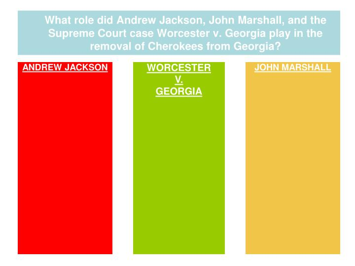 What role did Andrew Jackson, John Marshall, and the Supreme Court case Worcester v. Georgia play in the removal of Cherokees from Georgia?